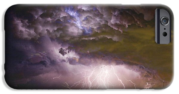Bolts iPhone Cases - Highway 52 Storm Cell - Two and half Minutes Lightning Strikes iPhone Case by James BO  Insogna