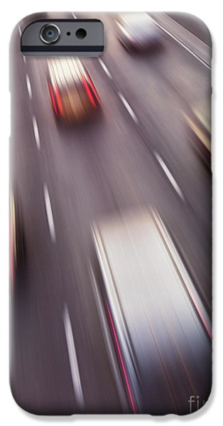Asphalt iPhone Cases - Highway Traffic in Motion iPhone Case by Oleksiy Maksymenko