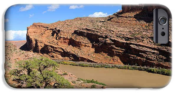 Slickrock iPhone Cases - Hiking the Moab Rim iPhone Case by Gary Whitton