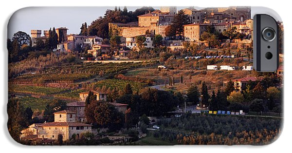 Chianti Landscape iPhone Cases - Hill Town of Panzano at Dusk iPhone Case by Jeremy Woodhouse