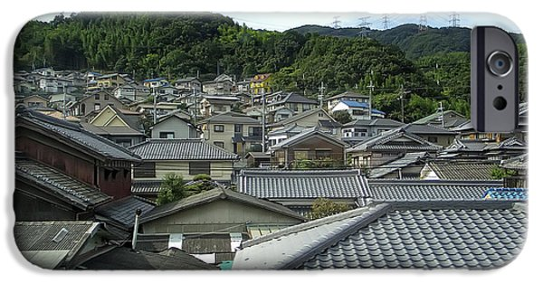 Japan Town iPhone Cases - HILLSIDE VILLAGE in JAPAN iPhone Case by Daniel Hagerman