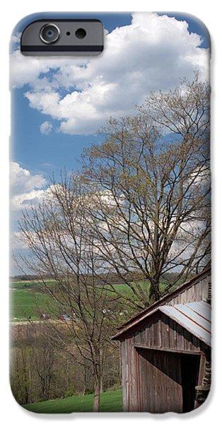 Hillside Weathered Barn Dramatic Spring Sky iPhone Case by John Stephens