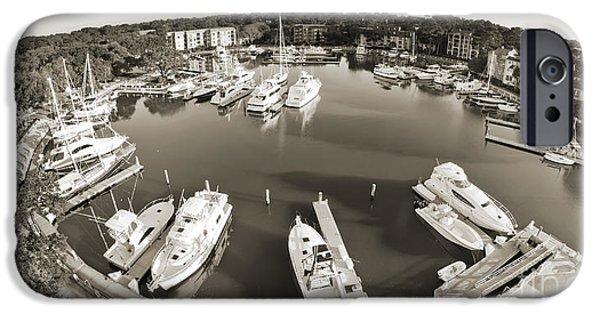 Boat iPhone Cases - Hilton Head Harbor Town Yacht Basin 2012 iPhone Case by Dustin K Ryan