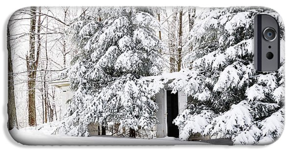 Frigid iPhone Cases - His and Her Outhouses iPhone Case by Thomas R Fletcher