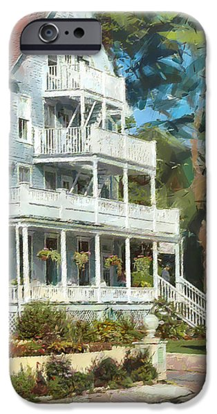 Island Stays iPhone Cases - Historic Harbour View Inn B and B Mackinac Island Michigan iPhone Case by Anne Kitzman