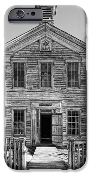 One Room School Houses iPhone Cases - HISTORIC MASONIC LODGE 3777 in BANNACK MONTANA GHOST TOWN iPhone Case by Daniel Hagerman