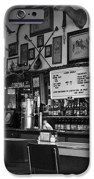 Historic Niles District in California Near Fremont . Bronco Billys Pizza Palace . 7D10707 . bw iPhone Case by Wingsdomain Art and Photography