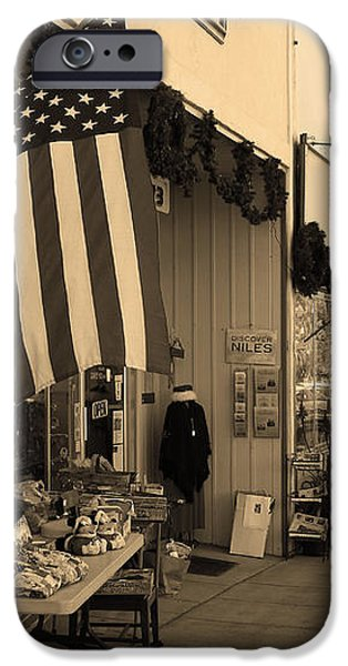 Historic Niles District in California Near Fremont . Main Street . Niles Boulevard . 7D10692 . sepia iPhone Case by Wingsdomain Art and Photography