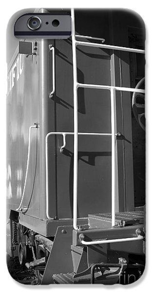 Historic Niles District in California Near Fremont . Western Pacific Caboose Train . 7D10622 . bw iPhone Case by Wingsdomain Art and Photography