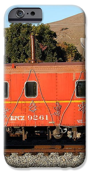 Historic Niles Trains in California . Old Sante Fe Caboose . 7D10832 iPhone Case by Wingsdomain Art and Photography