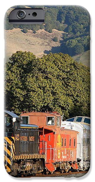 Historic Niles Trains in California . Old Southern Pacific Locomotive and Sante Fe Caboose . 7D10818 iPhone Case by Wingsdomain Art and Photography