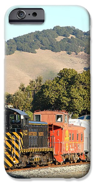 Historic Niles Trains in California . Old Southern Pacific Locomotive and Sante Fe Caboose . 7D10819 iPhone Case by Wingsdomain Art and Photography