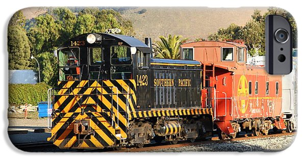 Caboose Photographs iPhone Cases - Historic Niles Trains in California . Old Southern Pacific Locomotive and Sante Fe Caboose . 7D10821 iPhone Case by Wingsdomain Art and Photography
