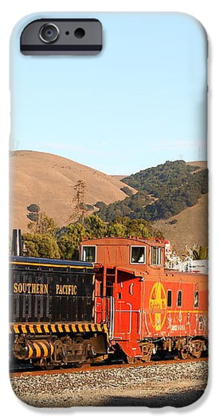 Historic Niles Trains in California . Old Southern Pacific Locomotive and Sante Fe Caboose . 7D10822 iPhone Case by Wingsdomain Art and Photography