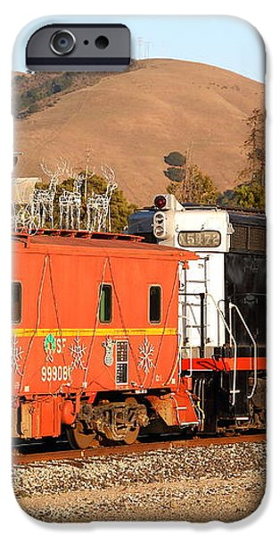 Historic Niles Trains in California . Old Southern Pacific Locomotive and Sante Fe Caboose . 7D10843 iPhone Case by Wingsdomain Art and Photography