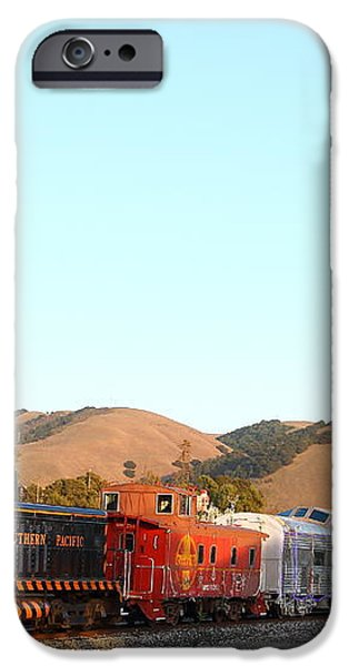 Historic Niles Trains in California . Old Southern Pacific Locomotive and Sante Fe Caboose . 7D10869 iPhone Case by Wingsdomain Art and Photography