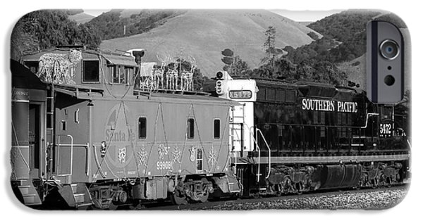 Caboose Photographs iPhone Cases - Historic Niles Trains in California . Southern Pacific Locomotive and Sante Fe Caboose.7D10843.bw iPhone Case by Wingsdomain Art and Photography