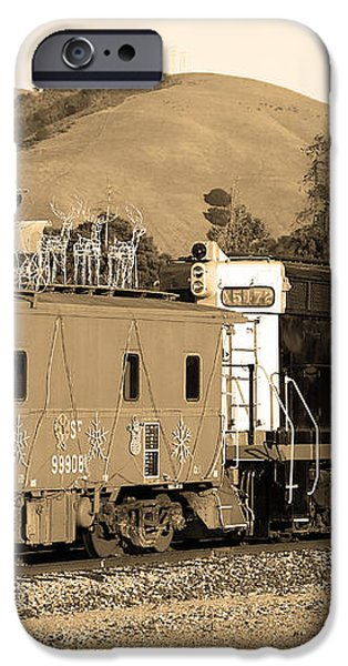 Historic Niles Trains in California.Southern Pacific Locomotive and Sante Fe Caboose.7D10843.sepia iPhone Case by Wingsdomain Art and Photography