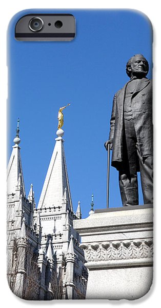 Angel Moroni iPhone Cases - Historic Salt Lake Mormon LDS Temple and Brigham Young iPhone Case by Gary Whitton