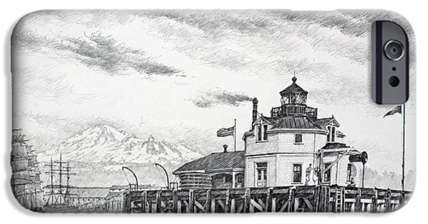 Lighthouse Drawings iPhone Cases - Historic Semiahmoo Lighthouse  iPhone Case by James Williamson