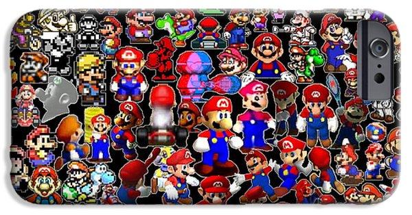Old Digital Art iPhone Cases - History of Mario Mosaic iPhone Case by Paul Van Scott