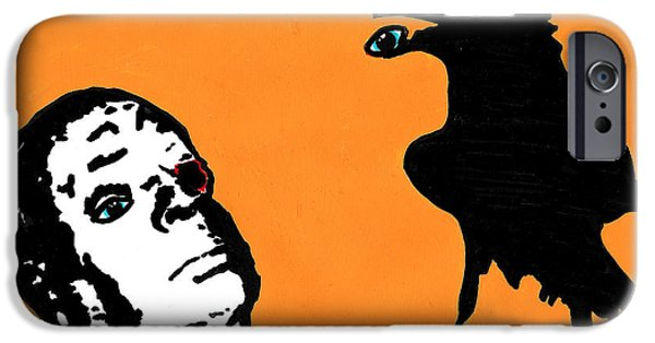 Crows Drawings iPhone Cases - Hitchcock and Raven on Orange iPhone Case by Jera Sky
