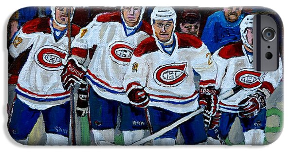 Stanley Cup Paintings iPhone Cases - Hockey Art At Bell Center Montreal iPhone Case by Carole Spandau