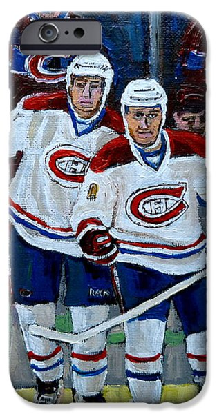 HOCKEY ART AT BELL CENTER MONTREAL iPhone Case by CAROLE SPANDAU