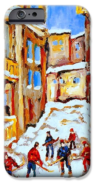 HOCKEY ART MONTREAL CITY STREETS BOYS PLAYING HOCKEY iPhone Case by CAROLE SPANDAU