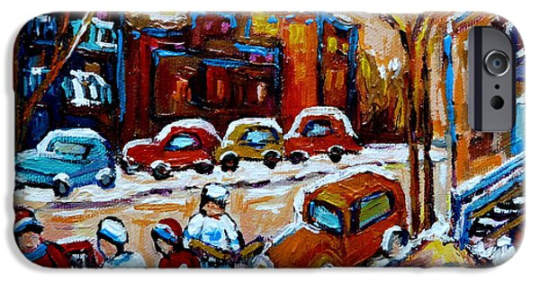 Mounds Paintings iPhone Cases - Hockey Art Montreal Staircases In Winter iPhone Case by Carole Spandau