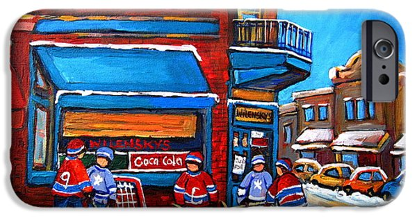 Carole Spandau Hockey Art Paintings iPhone Cases - Hockey Game at Wilenskys iPhone Case by Carole Spandau