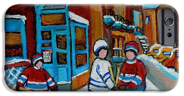 Hockey Paintings iPhone Cases - Hockey Game Corner Clark And Fairmount Wilenskys Paintings iPhone Case by Carole Spandau