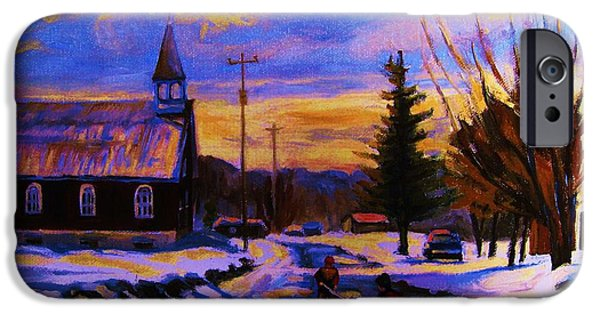 Montreal Storefronts Paintings iPhone Cases - Hockey Game In The Village iPhone Case by Carole Spandau