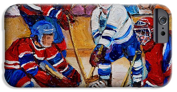 After School Hockey Paintings iPhone Cases - Hockey Game Scoring The Goal iPhone Case by Carole Spandau