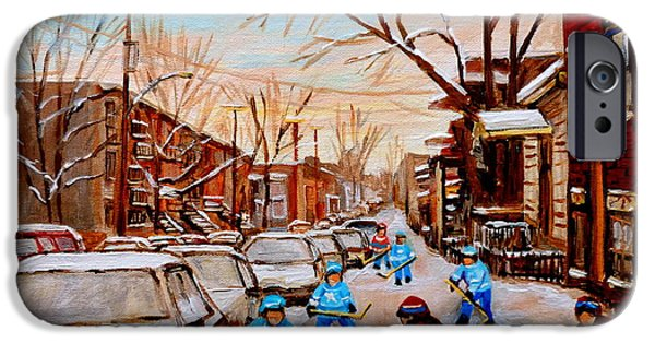 Montreal Land Marks Paintings iPhone Cases - Hockey Gameon Jeanne Mance Street Montreal iPhone Case by Carole Spandau