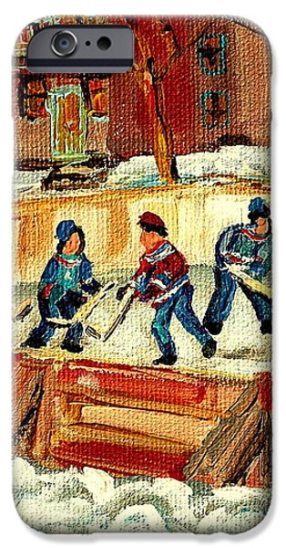 HOCKEY RINKS IN MONTREAL iPhone Case by CAROLE SPANDAU