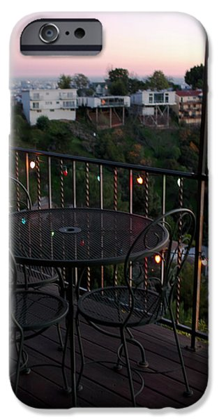 Patio Table And Chairs iPhone Cases - Holiday Deck at Dusk iPhone Case by Lorraine Devon Wilke