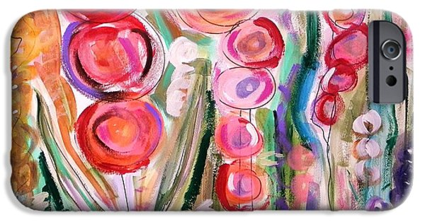 Simplicity Drawings iPhone Cases - Hollyhocks of the Garden iPhone Case by Mary Carol Williams