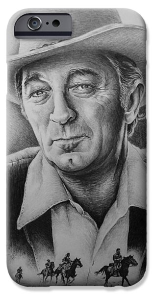 HOLLYWOOD GREATS -ROBERT MITCHUM iPhone Case by Andrew Read