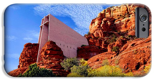 Grand Canyon Mixed Media iPhone Cases - Holy Cross or Red Rock Chapel iPhone Case by  Bob and Nadine Johnston