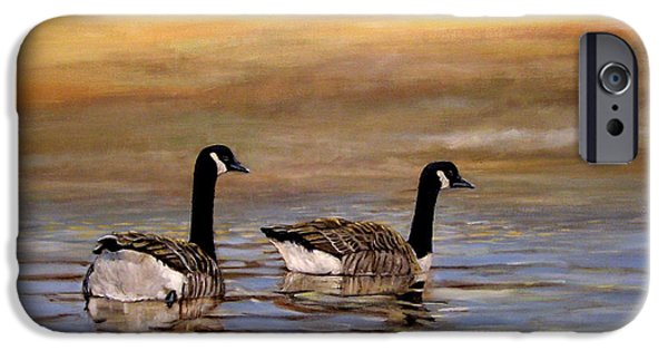 Canadian Geese Paintings iPhone Cases - Home iPhone Case by Arie Van der Wijst