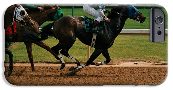 Horse Racing iPhone Cases - Home Stretch iPhone Case by Lone  Dakota Photography