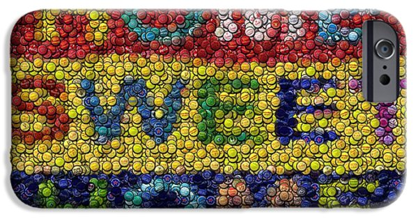 Bottlecaps iPhone Cases - Home Sweet Home Bottle Cap Mosaic  iPhone Case by Paul Van Scott