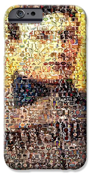 Rookie Card Mixed Media iPhone Cases - Honus Wagner Mosaic iPhone Case by Paul Van Scott