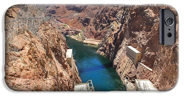 Red Rock iPhone Cases - Hoover Dam Bridge iPhone Case by Mike McGlothlen
