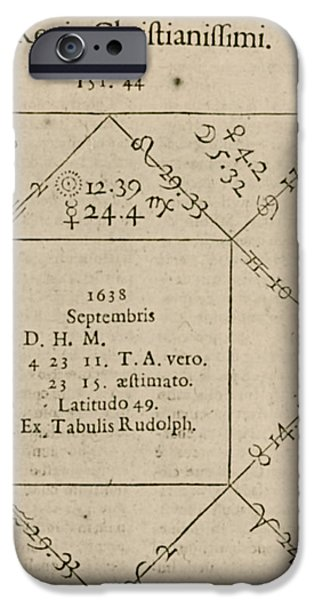 Horoscope Chart For Louis Xiv, 1661 iPhone Case by Science Source