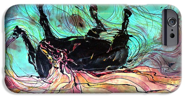 Emergence Tapestries - Textiles iPhone Cases - Horse Born of Earth Water Sky iPhone Case by Carol Law Conklin