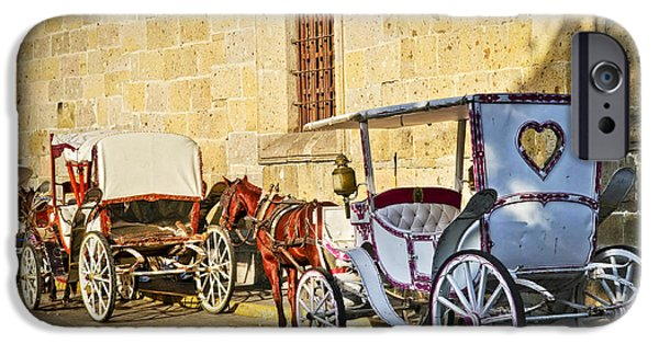 Culture iPhone Cases - Horse drawn carriages in Guadalajara iPhone Case by Elena Elisseeva