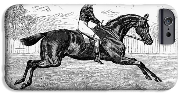 1880s iPhone Cases - HORSE RACING, 1880s iPhone Case by Granger