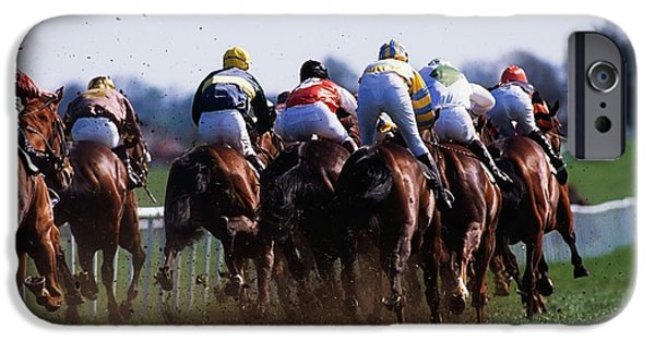 Horse Racing iPhone Cases - Horse Racing Rear View Of Horses Racing iPhone Case by The Irish Image Collection